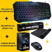 Combo Gx Gaming Gamer Genius Teclado K20+ Mouse M8 +gamepad