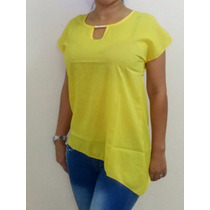 Blusas De Chifon Unicolor Amarillas Modernas