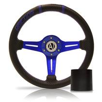 Volante Esportivo Driver Azul 320mm Com Cubo Fusca Brasilia