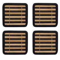 Descanso Suporte Porta Copos Em Bambu - Jogo Com 4 Unidades