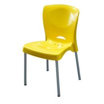 Cadeira De Plástico Bistrô Amarela Pés De Alumínio