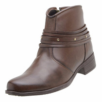 Sapato Feminino Bota Cano Curto Ankle Boot Café Tiras
