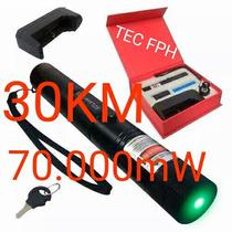 Super Caneta Laser Pointer 70.000mw 30km Verde + Kit Luxo