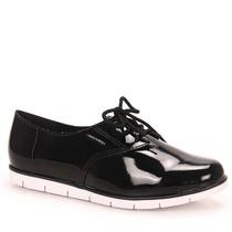 Sapato Oxford Moleca 5613 Preto Verniz Original Blogueiras
