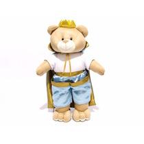 Porta Fraldas Pelucia Principe Rei Realeza Azul Bebê Urso