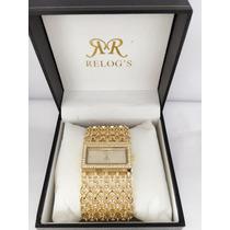 Relógio Feminino Dourado De Luxo Pronta Entrega
