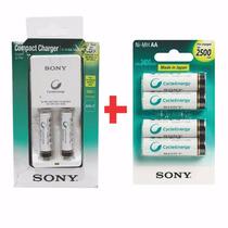 Cargador Para 2 Pilas Con 4 Aa 2500 Y 2 Aaa 900 Sony Gtia Of
