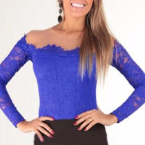 Blusa De Renda E Tule Azul Royal * Promoção Liquida *