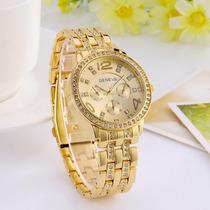 Relógio Importado Feminino Original Geneva Dourado Estiloso