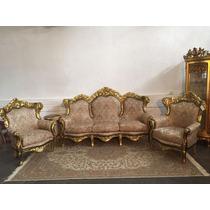 Sofa Classico Europeu Madeira Maciça Folhado A Ouro