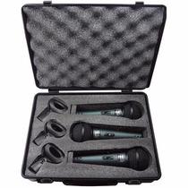 Maleta 3 Microfones 3 Cachimbos Profissionais Mxt Bt57a 58a