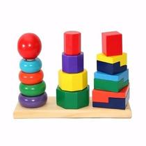 Juego Didáctico Torre Encastre Madera Geometrica Niños