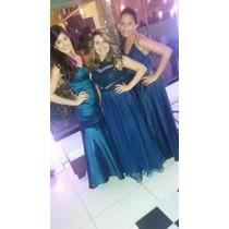 Vestido De Festa Madrinha Azul Marinho Com Decote