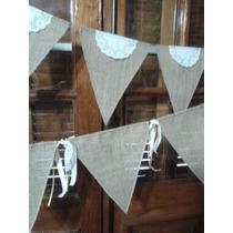 Banderines Arpillera Vintage Bautismo, Baby Shower, Deco