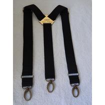 Tirador Pantalón Suspenders Mosqueton Bronce Negro 4cm