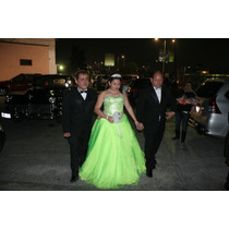 Vestido De 15 Xv, Moderno Color Verde Limon Muy Bonito