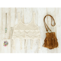 Remera Flecos Crochet Tejido Bikinis Top