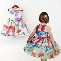 Vestido Rodado Festa Estampa Pintura Infantil Pronta Entrega