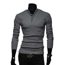 Buso Hombre Chaqueta Sweater Cuello Botones Ropa Buzo