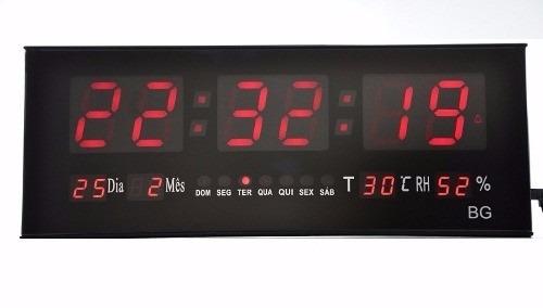 e41e0aa8d89 Relógio Led Digital Gigante Painel Data Temperatura Academia - R  135