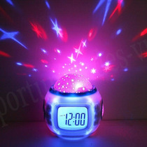 Reloj Despertador Alarma Proyector Estrellas Con Musica