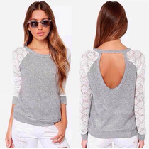 Remera Blusa Camiseta Algodón Con Mangas Caladas Talle G