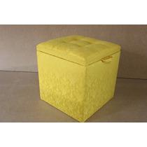 Puff Baú Em Tecido Com Rodas De Silicone Puf Amarelo