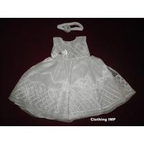 Nuevo Vestido Blanco Organza Bordada 3 - 6 M Bautizo Ropon