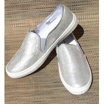 Sneakers De Goma Plateados Tipo Mocasin Para Dama