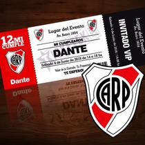 Tarjetitas De Invitación Fútbol / Cumpleaños / River Plate
