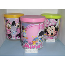 Potes Con Tapa Minnie, Mickey, Barbie, Y + Para Cotillón