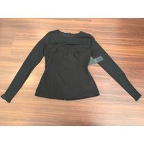 Blusa Guess Negra Con Gasa Transparente S Escote Corazon