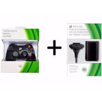 Kit Xbox 360 Slim Controle Sem Fio + Carregador Bateria