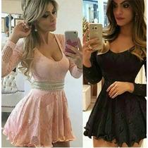 Vestido Curto Rodado Lindo Panicat Festa Em Renda #vc5