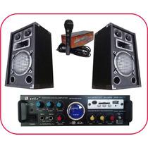 Combo Amplificador Usb Karaoke + 2 Bafles 3 Vias + Mic