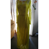 Vestido De Fiesta Talla Mediana Color Amarillo Moda Asiatica