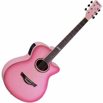 Violão Tagima Dallas Tunner Pink Rosa Afinador Aço Eletrico