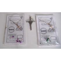 Paquete Cruz Metálica Con Listón, Cruces De Plata Y Aretes