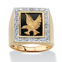 Anillo Águila De Ónix Y Oro 18k Sobre Plata Hombre Tamaño 9