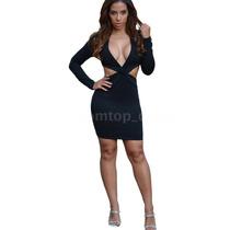 Sexy Vestido Negro Coctel Licra Unitalla Strech Cintura Sexy