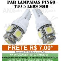 Par Lâmpadas Pingo T10 5 Smd 5050 W5w Automotivo Frete 7,00