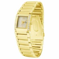 Relógio Condor New Feminino Dourado Com Strass- Novo