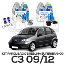 Kit Lâmpadas Super Brancas C3 09/12 Farol Baixo E Milha