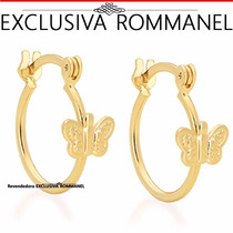 Rommanel Brinco Argola Infantil Borboleta Sobreposta 525241