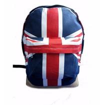 Mochila Inglaterra Reino Unido Uk Lona Escolar