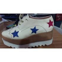 Plataformas/ Zapatos Acordonados 100 % Cuero