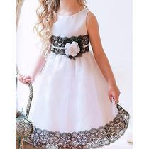 Vestido Infantil De Algodón Blanco Con Encaje Negro.