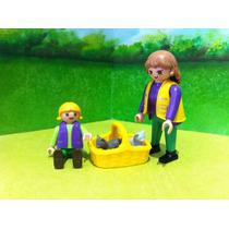 Playmobil Mamá Y Niña Con Cesta De Gatitos En Adopcion Js B