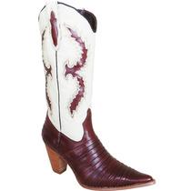 Bota Country Fem Texana Silverado Casco Tatu Couro Marrom