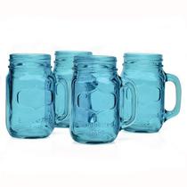 Mason Jars Yorkshire Color Azul Para Decoración Set De 4 Pz.
